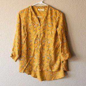 Bossini Yellow Floral Blouse Medium
